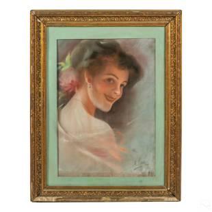 Antique (19C.) Pastel Portrait Happy Girl Drawing