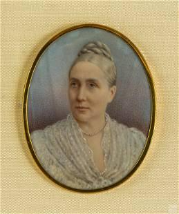 Figural Miniature Antique Female Portrait Painting