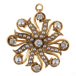 14K Gold Antique Diamond Seed Pearl Pendant Brooch