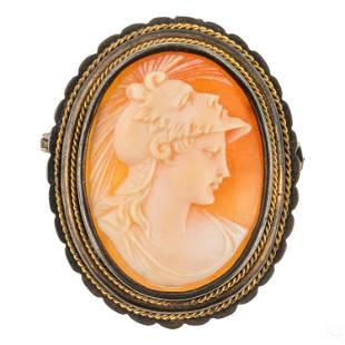 European Antique 800 Silver Shell Cameo Brooch Pin