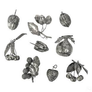 800 Silver Fruit & Nut Christmas Ornament LOT 284g
