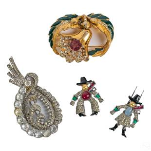 Costume Jewelry Gemstone Enamel Brooch Pins Group