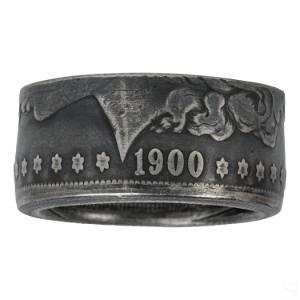 American 1900 Morgan Silver Dollar Coin Ring Sz 11