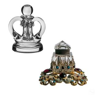 Steuben Art Glass Paperweight and Jeweled Inkwell