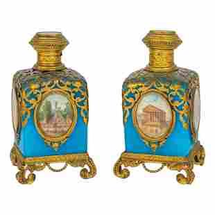 French (19C.) Antique Blue Opaline Perfume Bottles