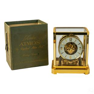 Jaeger LeCoultre Brass Atmos Clock & Original Box