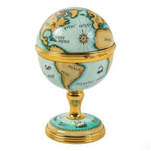 Halcyon Days English Explorers Globe Hinged Clock