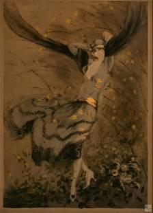 Louis Icart (1880-1950) Signed Autumn Swirls Litho