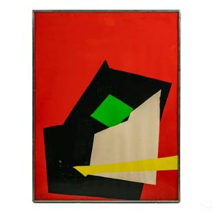 Modern Abstract Geometric Signed Lithograph Print