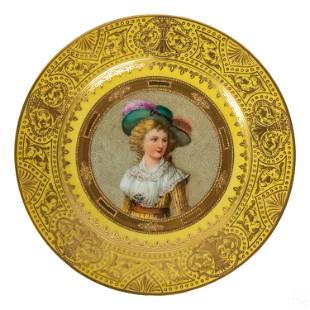 W. Dresden German Porcelain Antique Portrait Plate