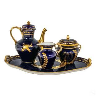 Sevres French Porcelain Cobalt Gilt Tea Set & Tray
