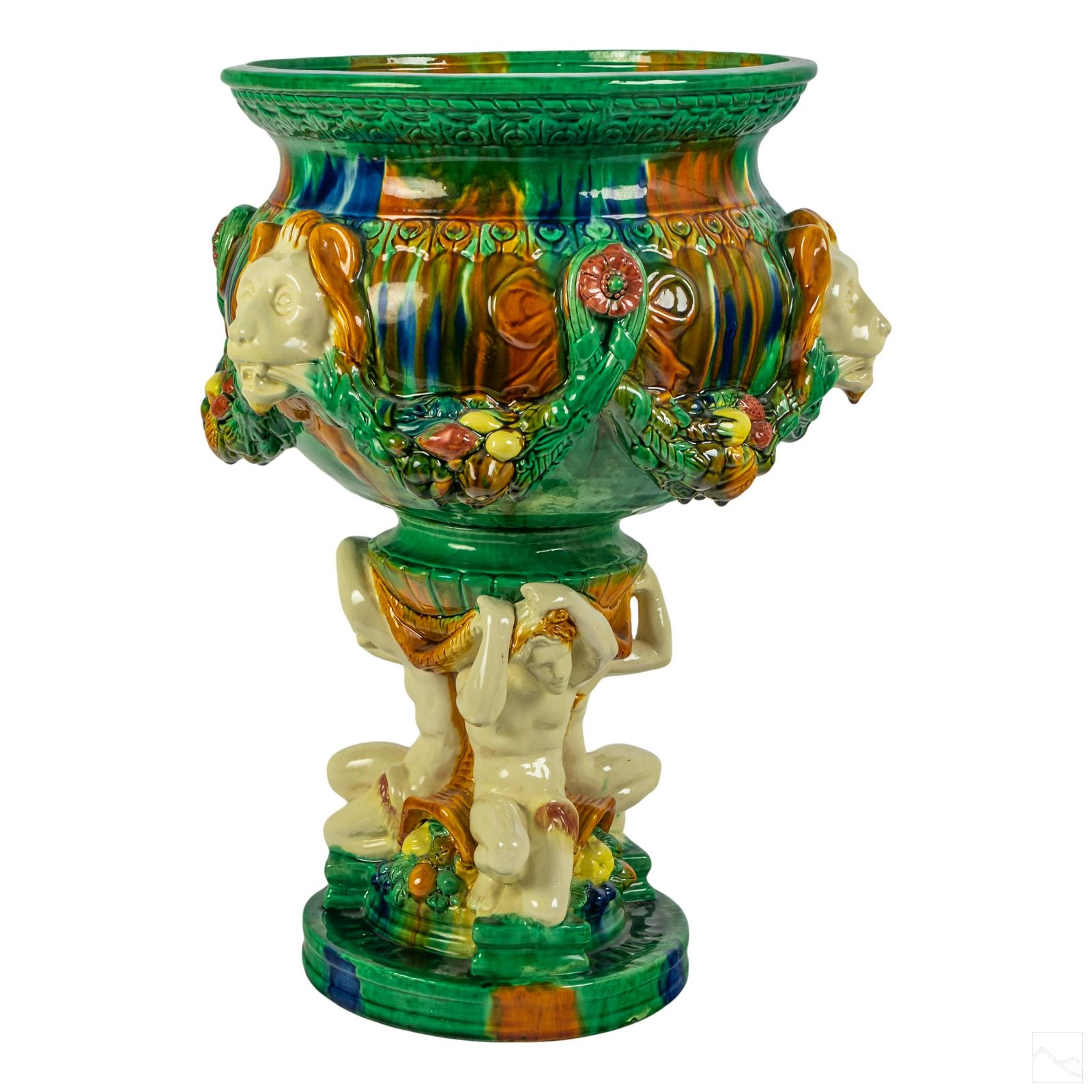 Neoclassical Majolica Nude Figural Jardiniere Bowl