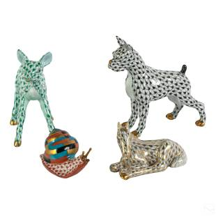 Four Herend Fishnet Porcelain Wildlife Figurines
