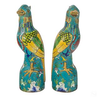 Chinese Enamel Cloisonne Phoenix Birds Sculptures