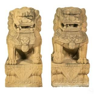 Chinese Carved Sandstone Foo Dog Garden Sculptures