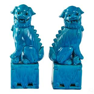 Chinese Porcelain Turquoise Guardian Foo Dogs PAIR