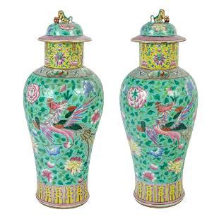Pair Chinese Famille Rose Porcelain Foo Dog Floral Vase