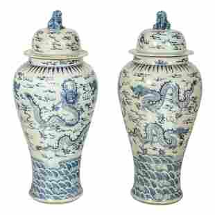 Chinese Palace Sized Lidded Porcelain Dragon Urns