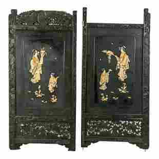 Japanese Antique Wooden Shibayama Screen Panels