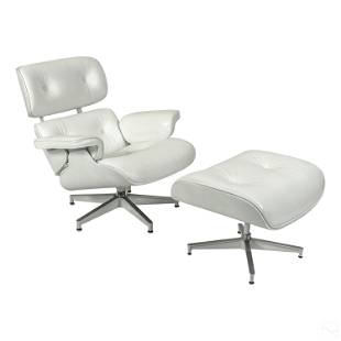 Modern White Lounge Chair with Ottoman after Eames