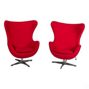Modern Red Egg Chairs Designed by Arne Jacobsen