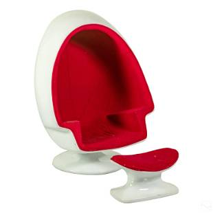 Mid Century Modern Alpha Red Egg Chair and Stool