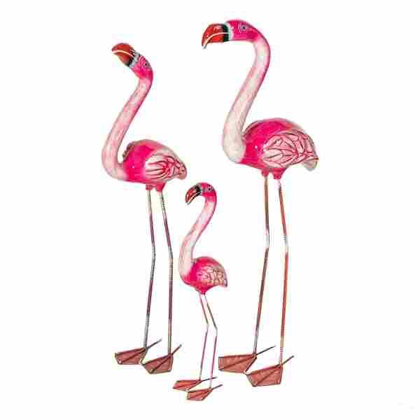 Pink Flamingo Family Paper Mache Floor Sculpture