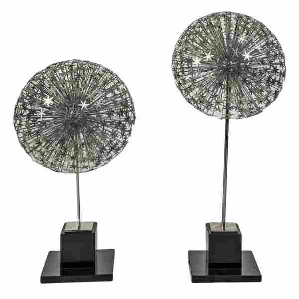 Modern Texas Dandelion Chrome Sphere Art Sculpture