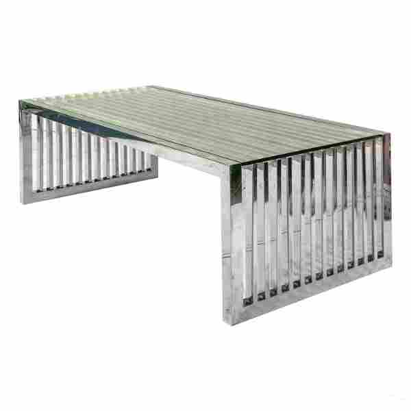 Modern Chrome Slat Bench Table style George Nelson