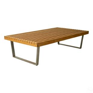 Modern Wood Slat Bench Table style George Nelson