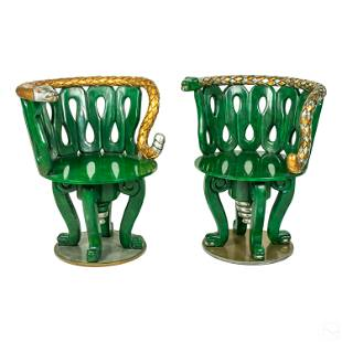 Mexican Folk Art Carved & Painted Snake Arm Chairs