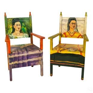 Frida Kahlo Mexican Folk Art Painted Arm Chairs