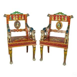 Robust Pair Carved Painted Indo Persian Arm Chairs