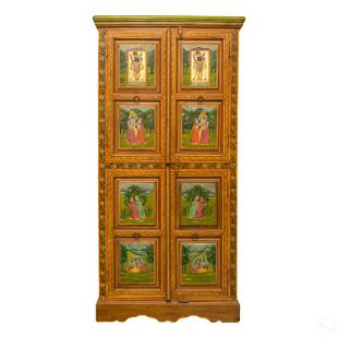 Indo Persian Hand Painted Wooden Storage Cabinet
