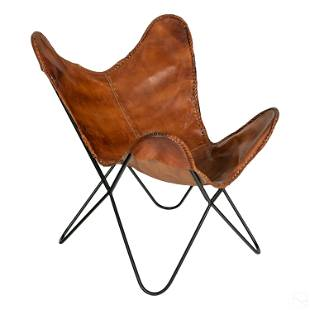 Modern Butterfly Sling Hardoy Style Leather Chair