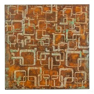 Modern Geometric Abstract Mixed Media Oil Painting