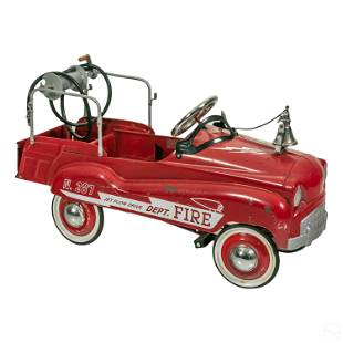 Burns Novelty Red Push Toy Pedal Car Fire Truck
