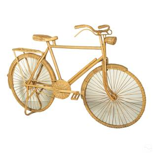 Unique Folk Art Wood Rattan Bicycle Art Sculpture