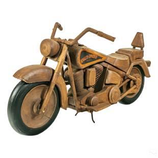 Harley Davidson Custom Folk Art Wooden Motorcycle