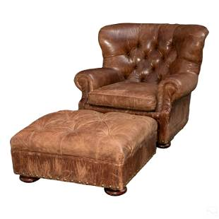 Ralph Lauren Oversized Leather Chair with Ottoman