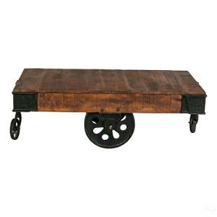 Industrial Iron Wooden Railroad Cart Coffee Table