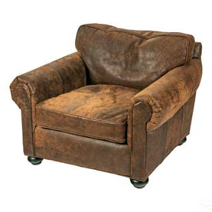 Restoration Hardware Oversized Brown Leather Chair