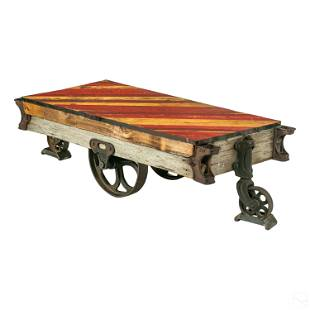 Industrial Railroad Wooden Train Cart Coffee Table