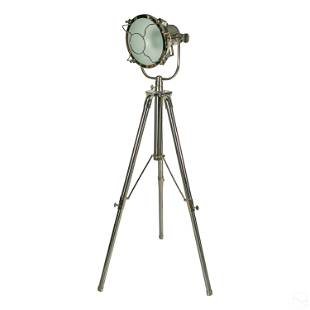 "Industrial Chrome Tripod Spotlight 83"" Floor Lamp"