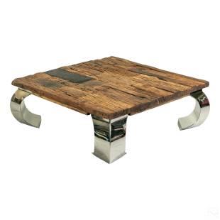 Reclaimed Barn Wood and Chrome Modern Coffee Table