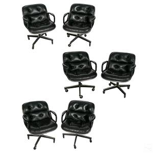 Charles Pollack for Knoll Leather Office Chair SET