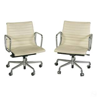 Eames Herman Miller Aluminum Leather Group Chairs