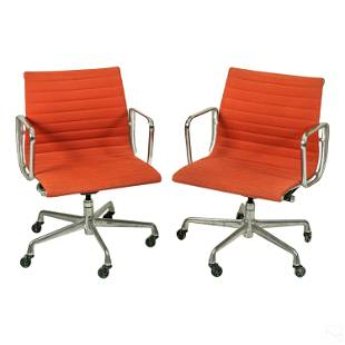 Eames Herman Miller Orange Aluminum Group Chairs