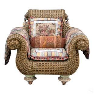 Mackenzie Childs Designer Wicker Armchair Pillows