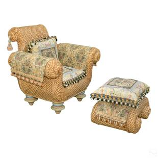 Mackenzie Childs Designer Wicker Chair & Ottoman